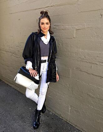 pants jacket olivia culpo top instagram purse crop tops white pants skinny pants grey top lace up pants