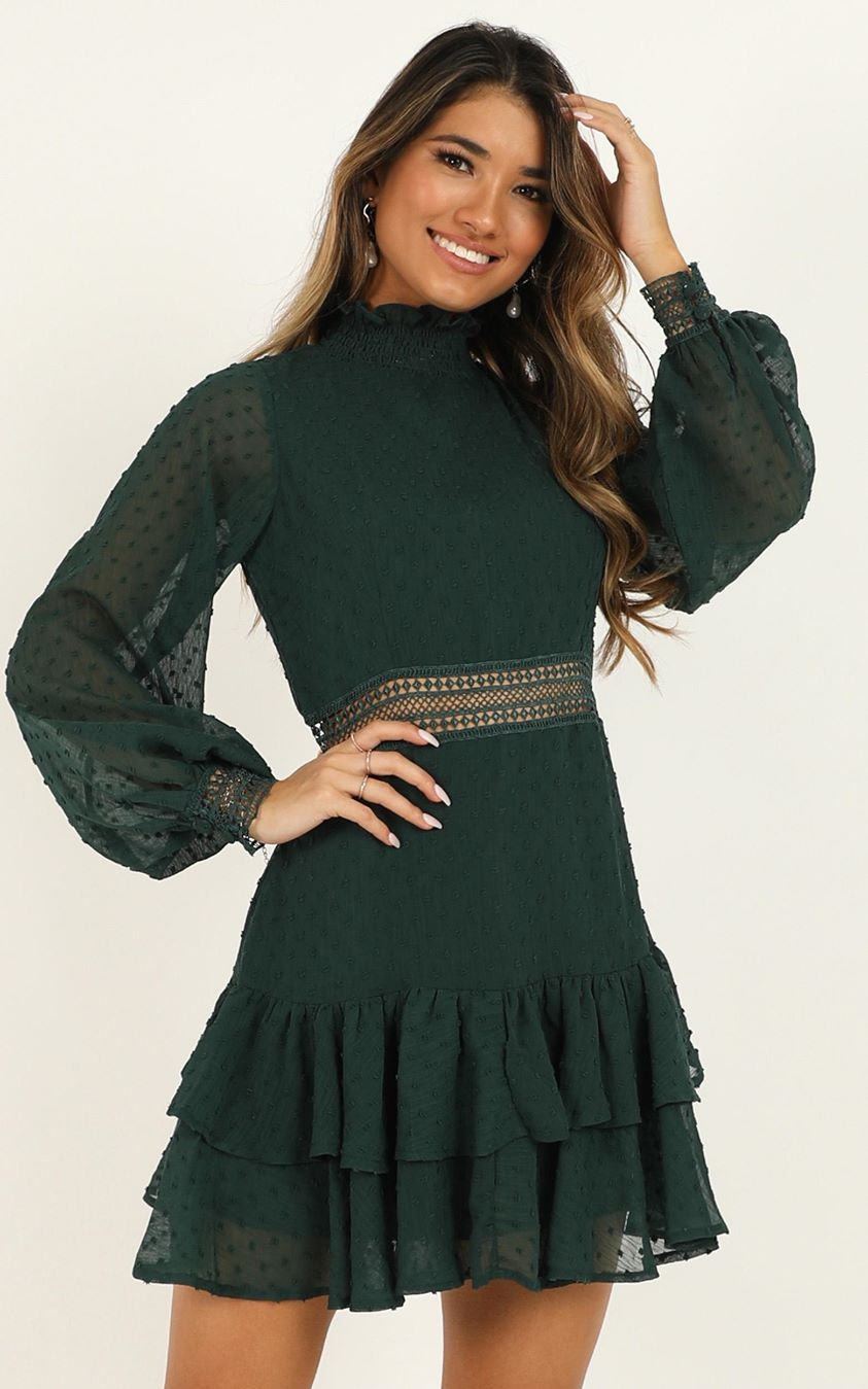 Showpo Are You Gonna Kiss Me Dress in emerald - 6 (XS) Dresses