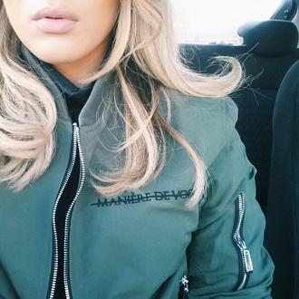jacket khaki fashion style blogger zips bomber jacket instagram tumblr maniere de voir khaki bomber jacket manieredevoir