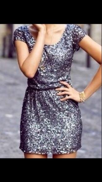 dress silver dress sequin dress