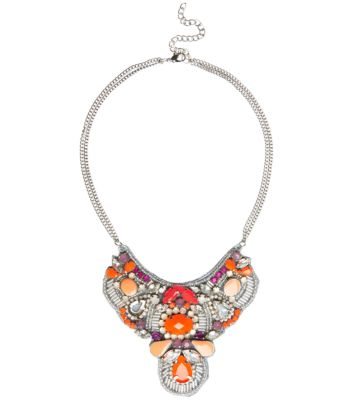 Neon Orange Gem Beaded Bib Necklace