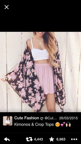 skirt bralet white pink flowers kimono