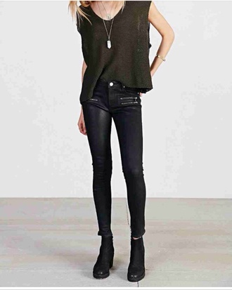 jeans leather skinny pants army green shirt green shirt urban outfit shirt leather pants zipper jeans urban outfitters top shoes