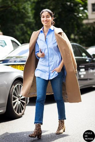 le fashion image blogger coat shirt jeans shoes