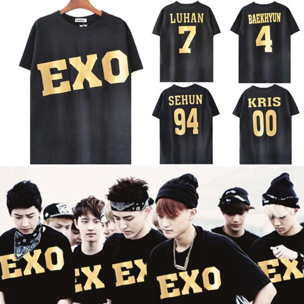 shirt i4out look lookbook streetstyle kpop tshirt exo exo k luhan t-shirt t-shirt celebrity kpop