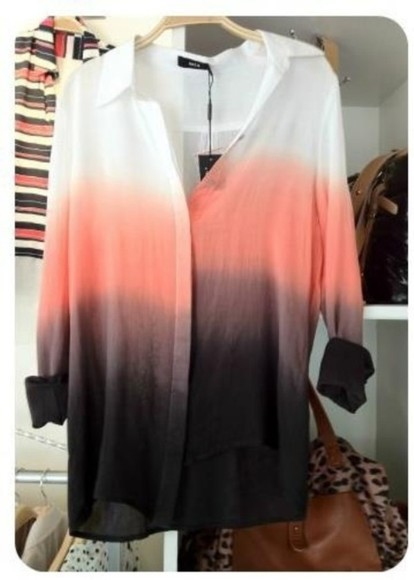dye shirt white black grey coral