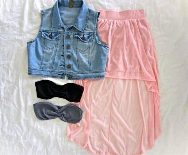 dress skirt bra jacket denim vest vest blue sunglasses chaleco bandeau pink cute blue jean jacket high low skirt top