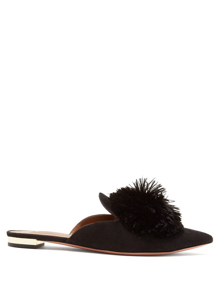 backless flats suede black shoes
