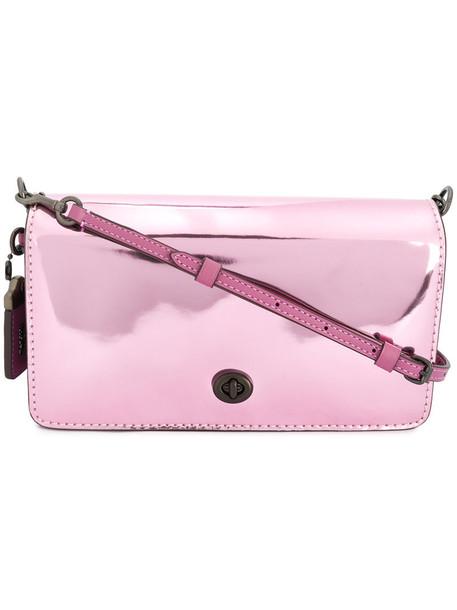 coach women bag crossbody bag leather purple pink