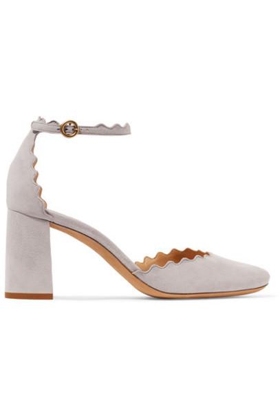 Chloe suede pumps scalloped pumps suede shoes