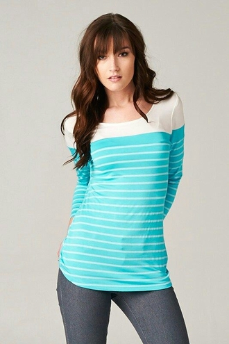 shirt teal & white stripe