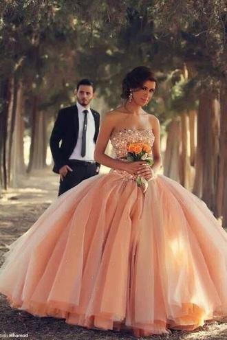 dress tule peach/gold dress sparkles