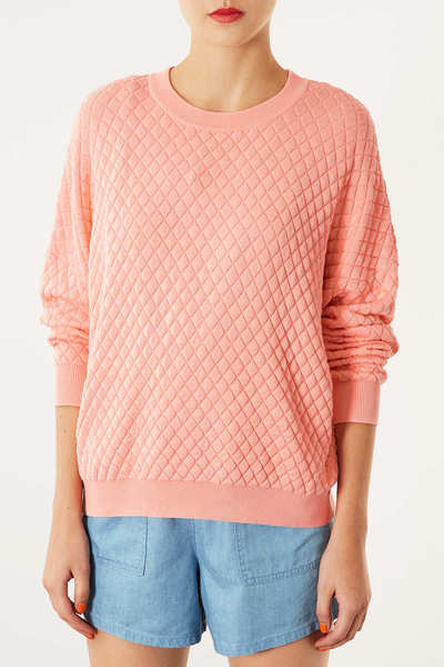 TOPSHOP Peach KNITTED QUILTED Jumper. UK 8, 10 Top. RRP £38, NEW SEASONS | eBay