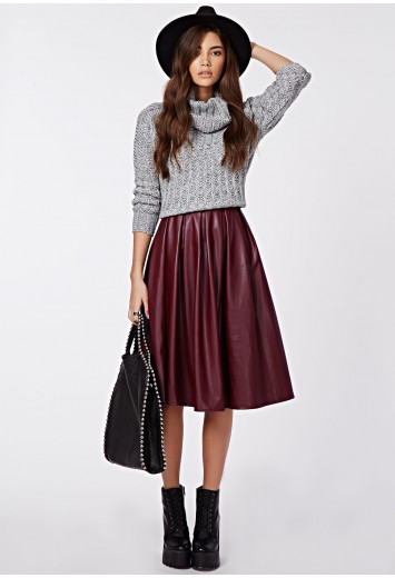 Rai faux leather full midi skirt burgundy