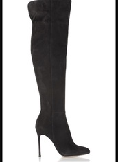 shoes,black suede knee length  boots