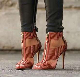 shoes high heel sandals zip pink high heels millionair heels strappy heels nude heels