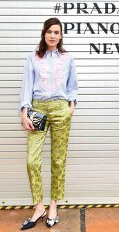 pants,shirt,top,alexa chung,spring outfits,blouse,striped shirt