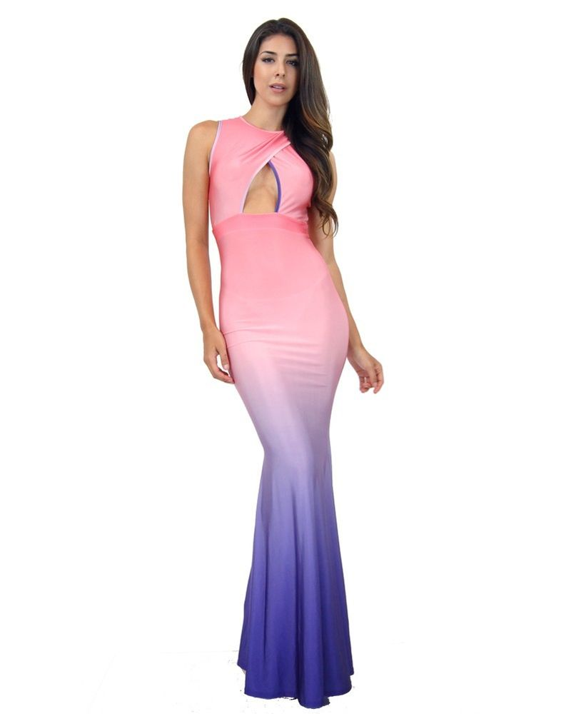Women Ombre Key Hole Sexy Plunge Celebrity Red Carpet Mermaid 11012 Maxi Dress | eBay