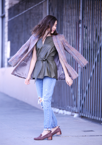 inspades blogger jacket top jeans shoes leather top purple coat winter outfits loafers