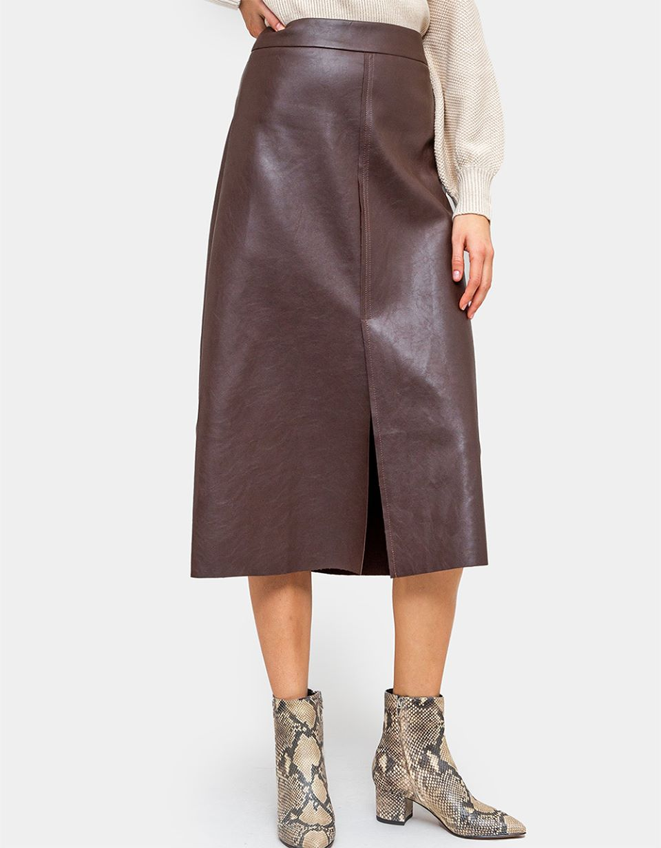 Stride Faux Leather Skirt