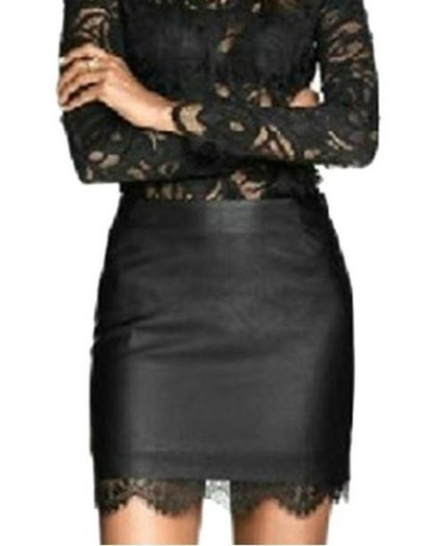 Skirt: black skirt, pencil skirt, pu skirt, faux leather skirt ...