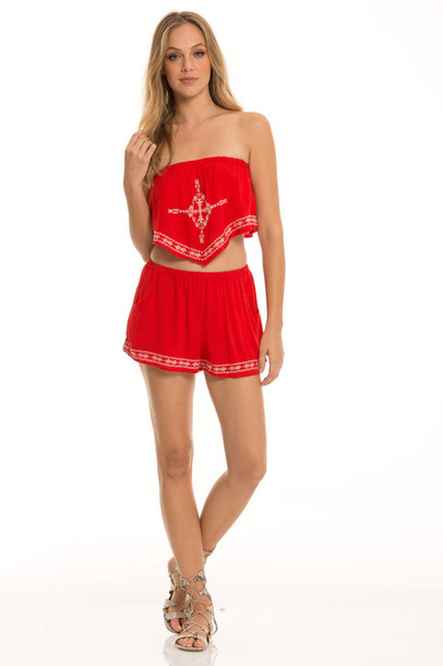 Jumpsuit red festival festival outfit music festival outfit two-piece strapless ...