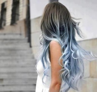 t-shirt blue denim cotton ombre style me colorful hairstyles pastel hair