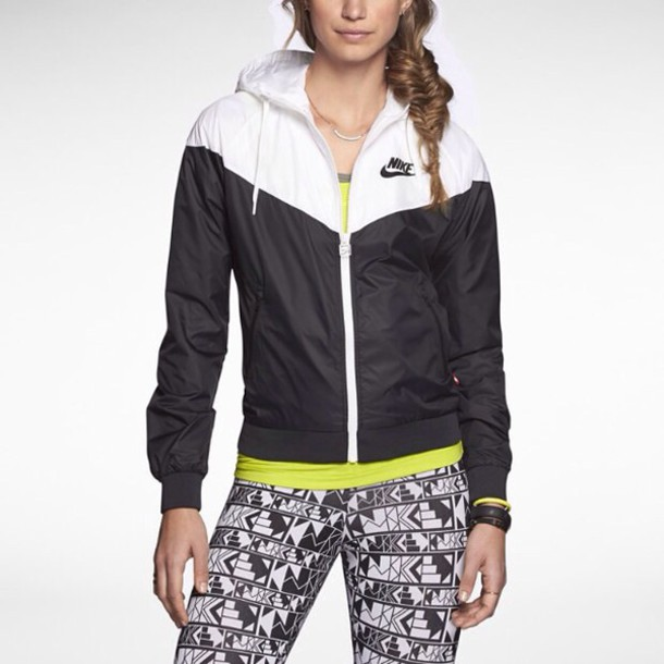 Jacket: nike, windbreaker, black, white, sportswear, leggings ...