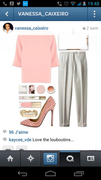 christian louboutin blouse pastel colour rose white