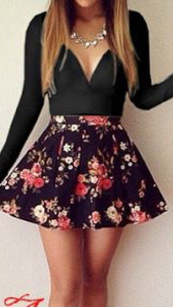 dress dress flowers sleeves blackk skirt make-up nail accessories black dress fashion floral trendy girly summer spring beautifulhalo floral dress style long sleeves girl