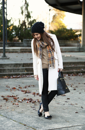 dress corilynn,blogger,ballet flats,winter outfits,tartan scarf,beanie,leather bag,coat,sweater,shoes,scarf,hat,bag