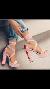 shoes,pink,heels,roses