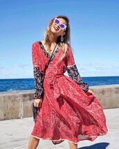 dress,tumbr,red dress,printed dress,midi dress,v neck,v neck dress,long dress,long sleeve dress,sunglasses,spring outfits,spring dress