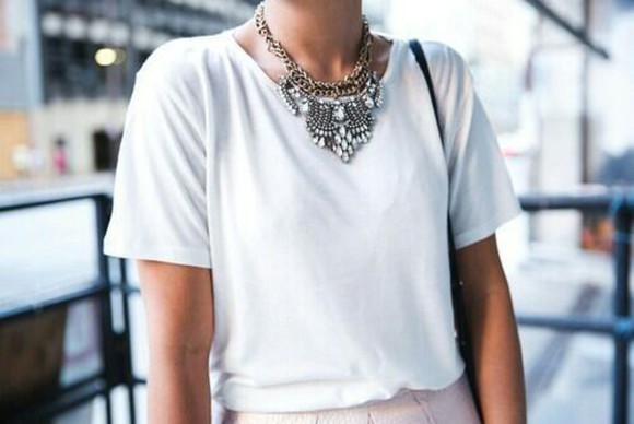 white shirt white shirt t-shirt jewels casual dressy tops dressy shirt