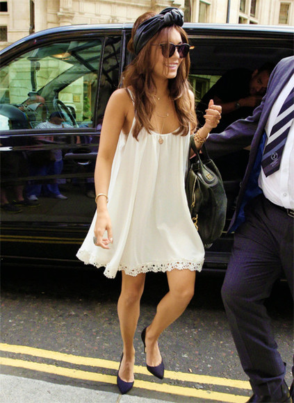 short cute white dress girly rosy details flowers vanessa hudgens white dress cute dress