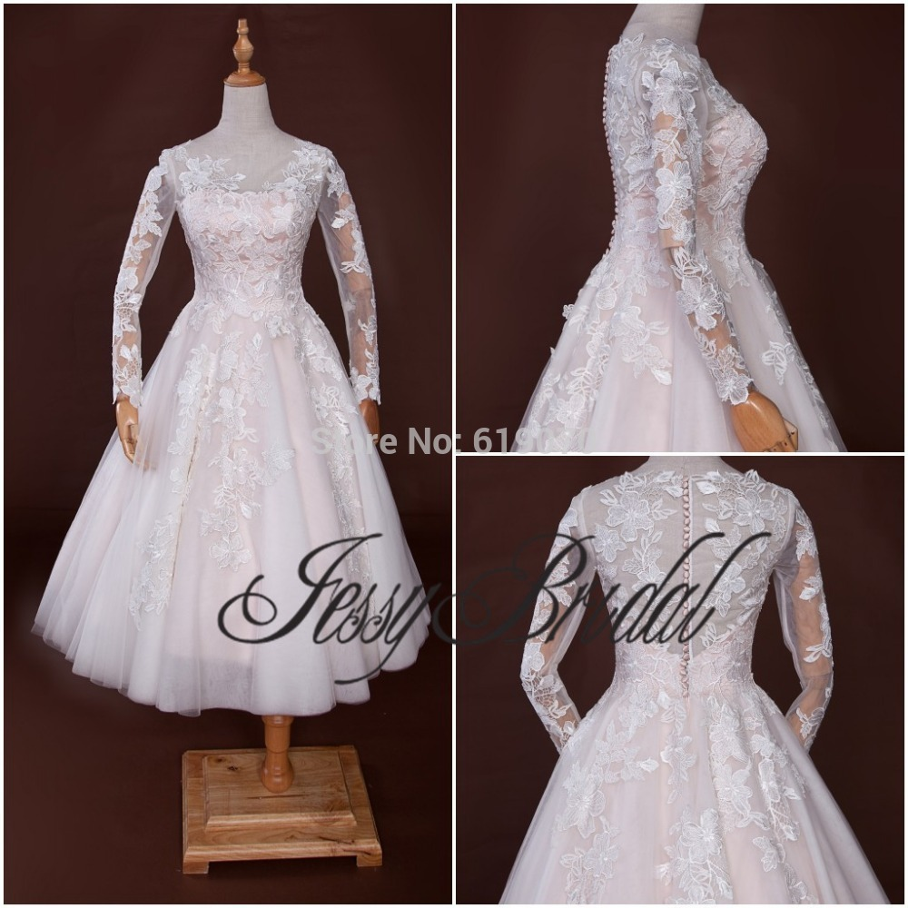 Aliexpress Buy Real Sample Special Lace Long Sleeve Wedding Dress Mid Calf Length Scoop