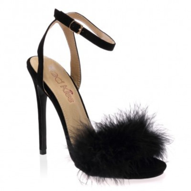 shoes, fluffy heels, black feather
