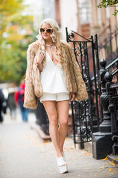 i hate blonde,blogger,romper,cat eye,fuzzy coat,platform sandals,crystal quartz,sunglasses,shoes,jewels,necklace,choker necklace,jewelry,beige fluffy coat,camel fluffy coat