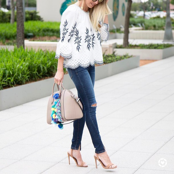 d0856be16e blouse tumblr white top three-quarter sleeves embroidered embroidered tops  bell sleeves white blouse denim