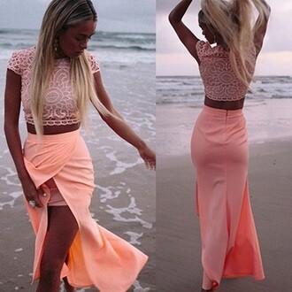 skirt crop tops coral shirt dress