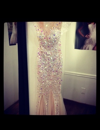 open back prom dress nude tulle skirt rhinestones