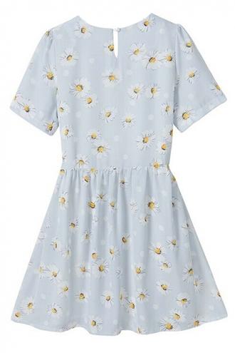 dress daisy flowers floral blue light blue cute
