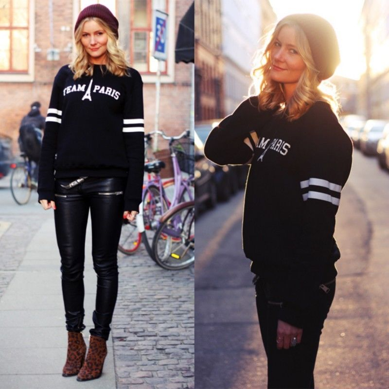 Women black team paris printed long sleeve sweater jumper jacket sweatshirt