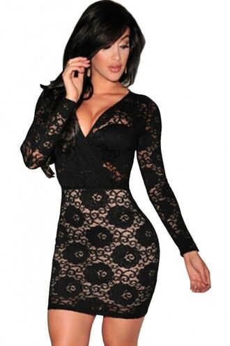 dress black dress lbd black lace lace bodycon long sleeves plunge v neck dress mini dress sheer lace clubbing outfit www.ustrendy.com