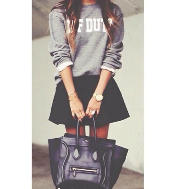 bag celine black grey watch gold jewels fashion off duty sweater skirt