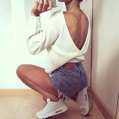 white sweater,open back,denim shorts,white sneakers,nike,nike shoes,sweater,asos