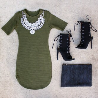 dress olive green curved hem curve bodycon ootd date outfit date dress gojane necklace booties outfit idea