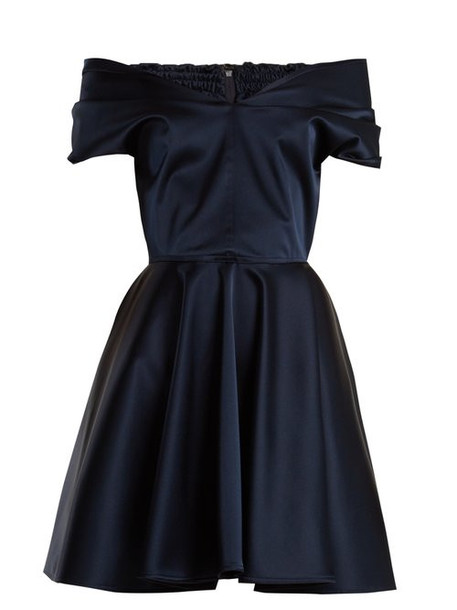Emilio De La Morena - Tamara Off The Shoulder Stretch Silk Dress - Womens - Navy