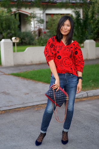 cecylia blogger socks red sweater quilted polka dots