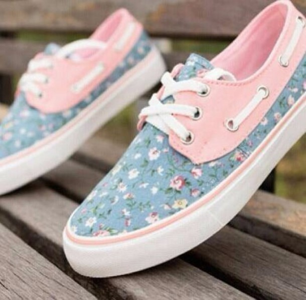 0ec29977647447 shoes instagram shoes in pink floral vans blu blue pink white vans pretty  cute pink floral